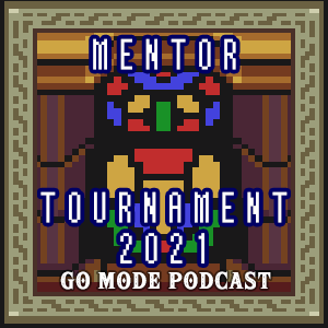 Go Mode Podcast Mentor Tournament 2021 logo with stained glass from ALTTP